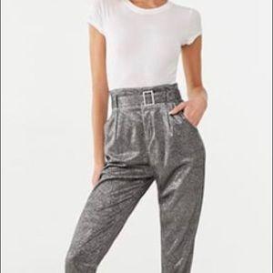 - Metallic ankle pants